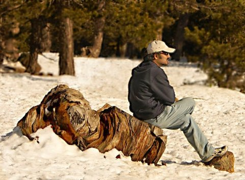 Image of man sitting and reflecting on environment.